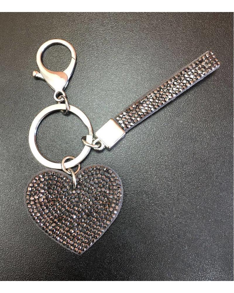 Diamanté Heart & Strap Set Keyring