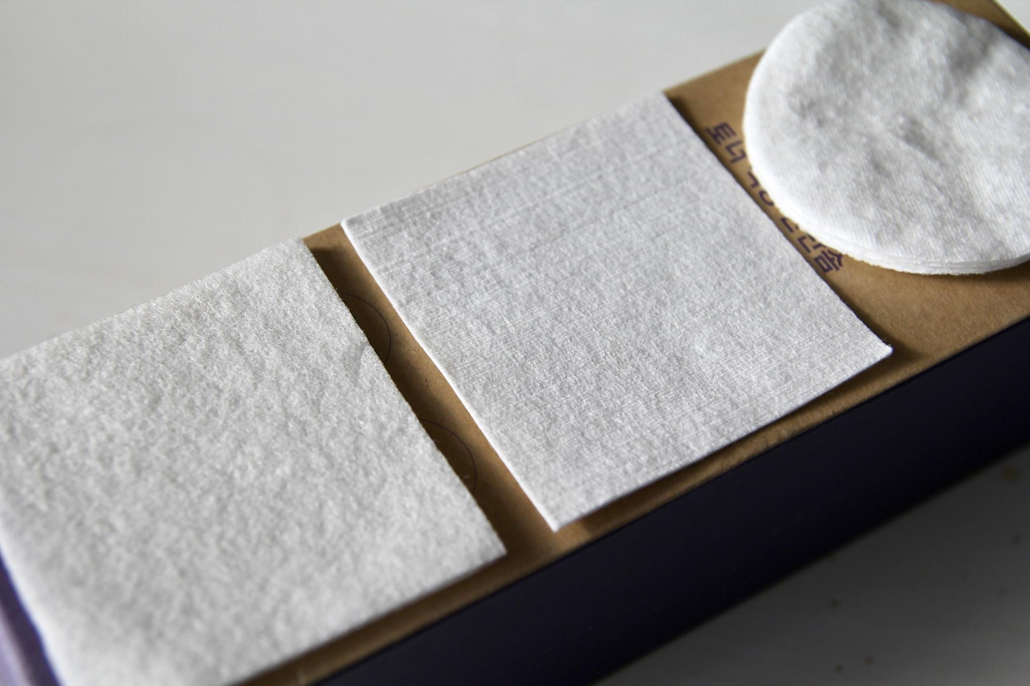 Klairs cotton pads compared to conventional cotton pads from the drugstore. Left: sponge pads. Middle: compressed pads.