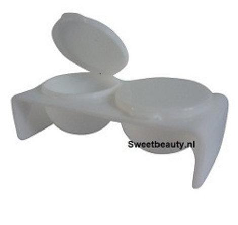 Dubbele dappendish plastic kleur wit