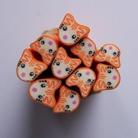 Fimo Nail Art In De Vorm Van Een Oranje Kat Sweetbeauty