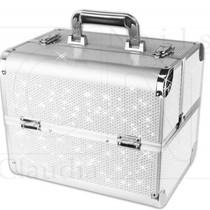 Cosmetica koffer / Nagelkoffer Strass Zilver