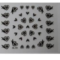 Nailart stickers Serie 1 Zwart, Kies uit verschillende printjes.