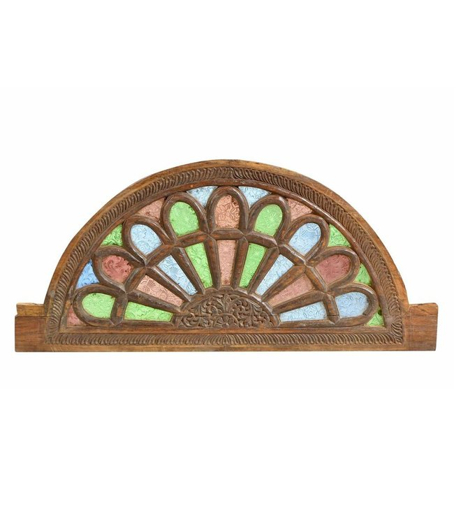 India - Handicrafts Jali Wooden Window with Stained Glass