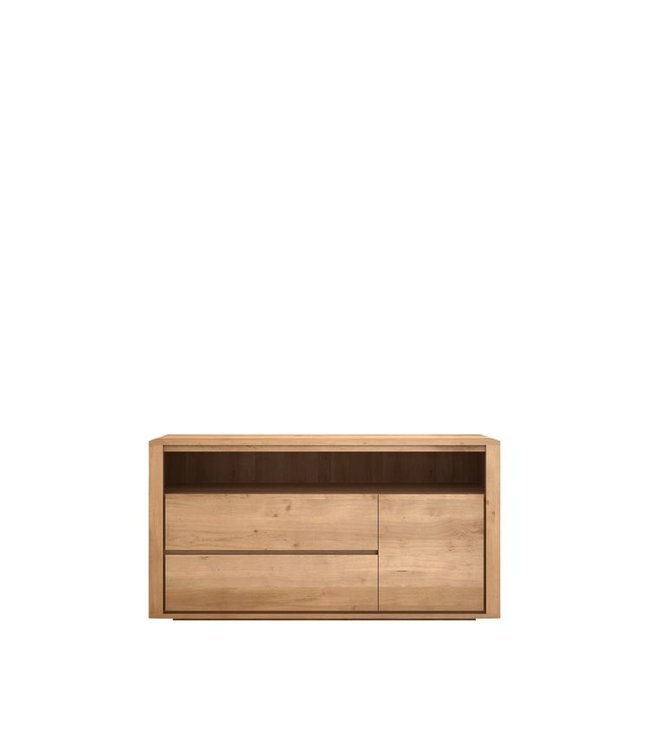 Oak Shadow Chest of Drawers - 2 Drawers / 1 Door