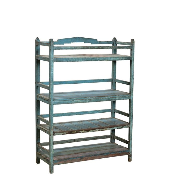 India - Old Furniture Blue Indian Painted Display Rack