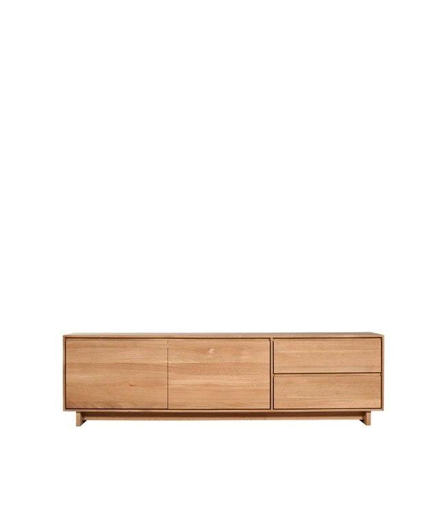 Oak Wave TV cupboard - 2 doors 1 flip-down door 1 drawer