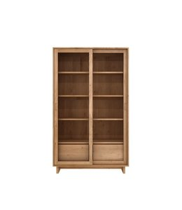 Ethnicraft Oak Oak Wave book rack - 2 sliding glass doors - 2 drawers