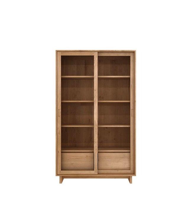 Ethnicraft Oak Oak Wave book rack - 2 sliding glass doors - 2 drawers