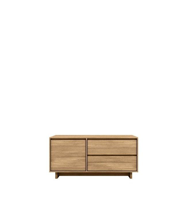 Ethnicraft Oak Oak Wave TV cupboard - 1 door 1 flip-down door 1 drawer