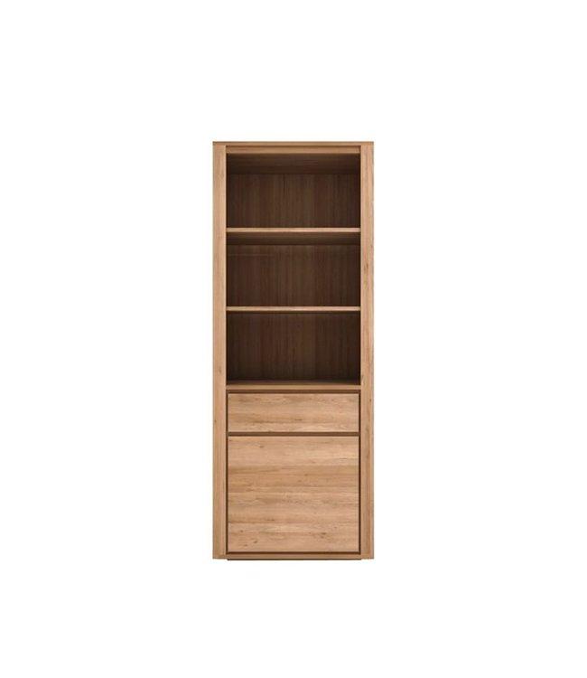 Oak Shadow book rack - 1 door / 1 drawer