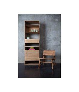 Oak Nordic bookcase - 1 door 1 drawer