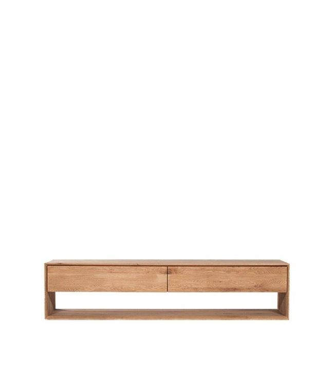 Oak Nordic TV cupboard - 1 flip-down door 1 drawer