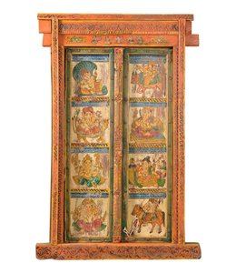 India - Old Furniture Pair of Beautiful Indian Painted Doors with Frame