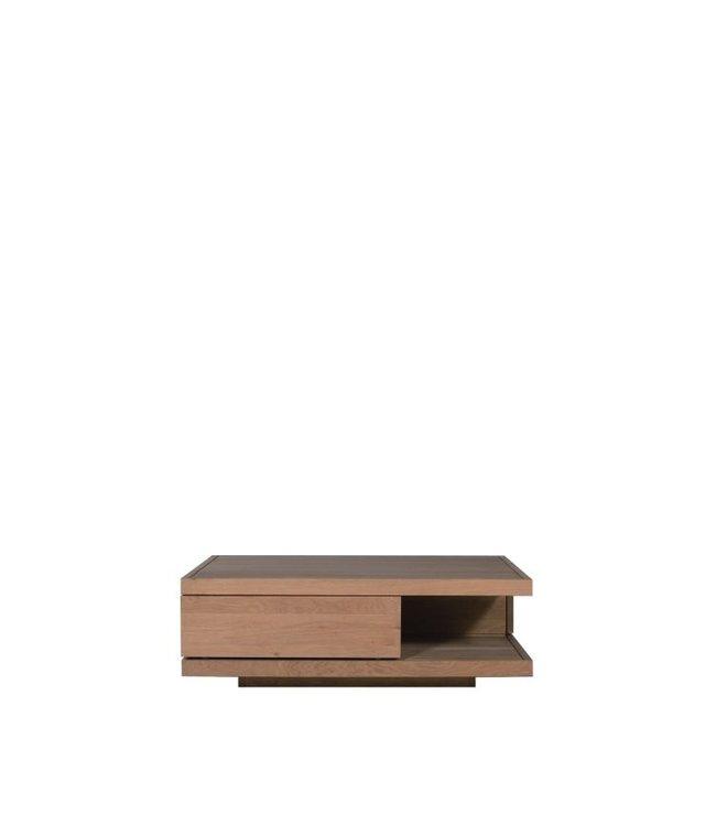 Oak Flat coffee table - 2 drawers 110cm