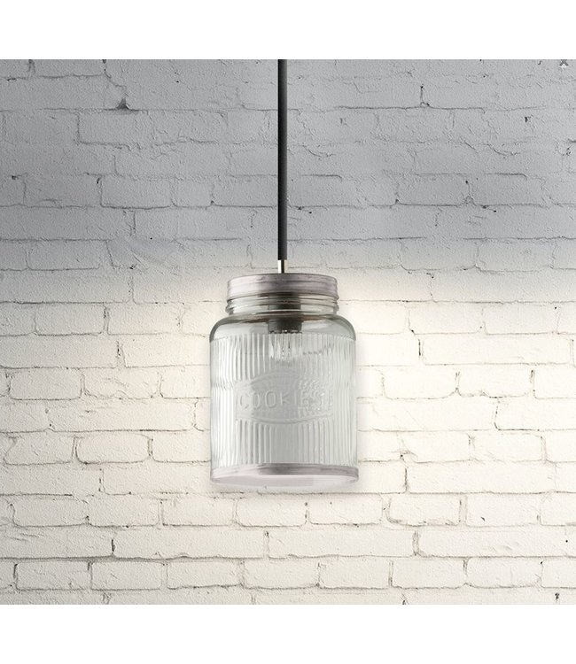 Cookie Jar Hanging Light Antique Silver