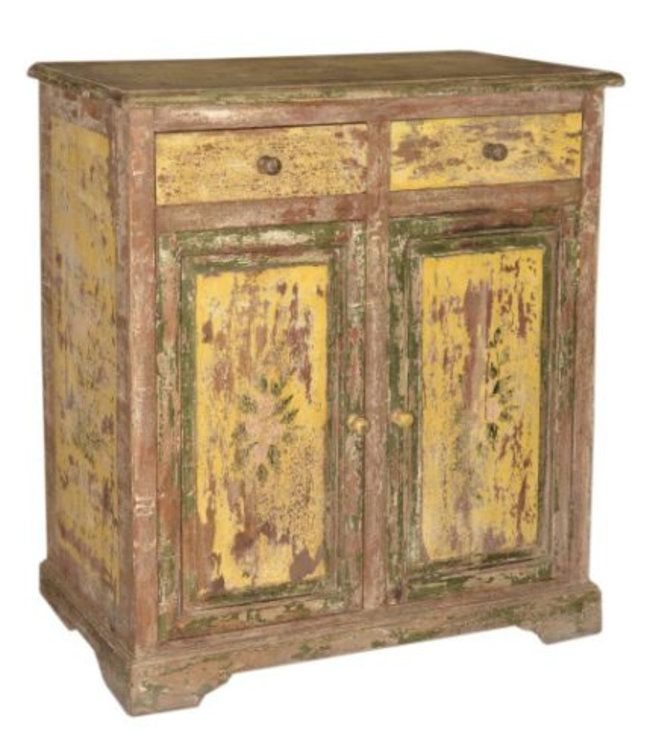 India - Old Furniture Old Indian Cabinet with Original Paintwork