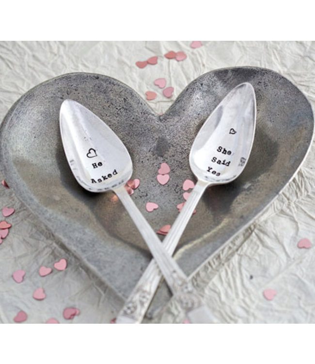 Level 2 Accessories etc Teaspoon - He Asked/She Said yes Set of 2