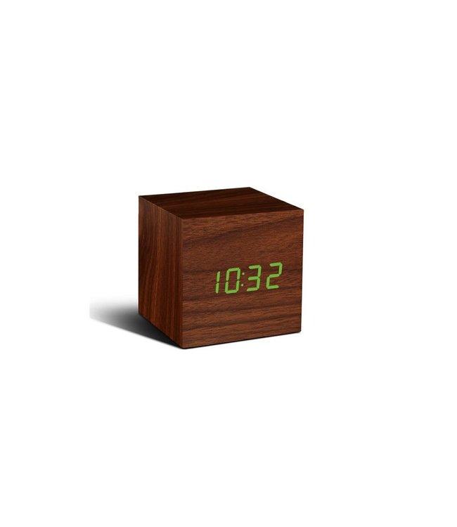 Cube Walnut Click Clock / Green LED