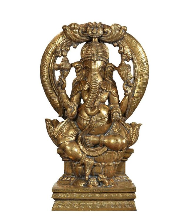 India - Handicrafts Brass covered Ganesh statue