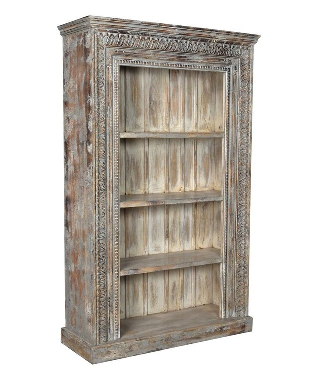 India - Old Furniture Large bookcase with carved front