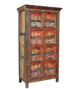 India - Old Furniture Beautiful Painted Indian Cupboard