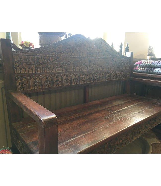India - Old Furniture Nagaland Tribal Carved Garden Bench