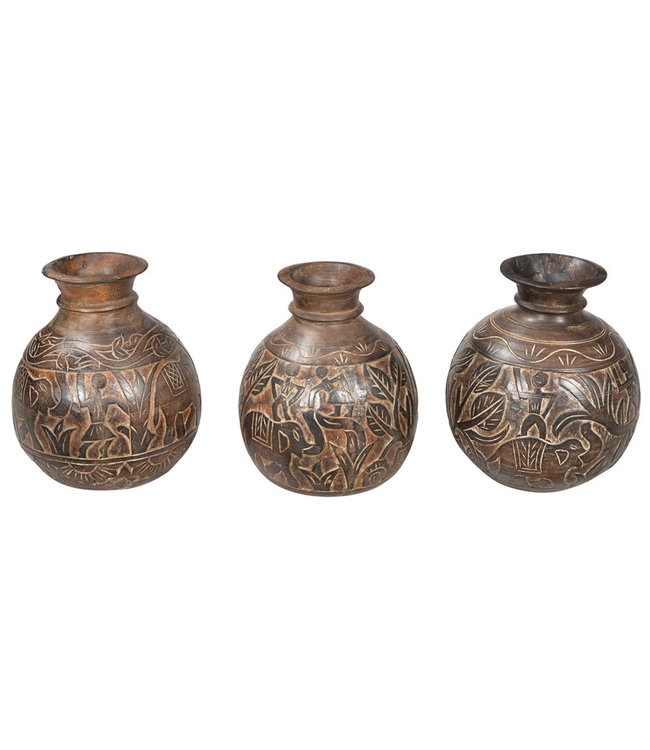India - Handicrafts Carved Pot