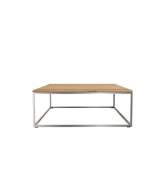 Oak Thin coffee table - stainless steel frame