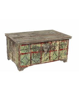 Teak chest with distressed style paintwork