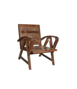 India - Old Furniture Reclaimed Teak Art Deco Style Chair