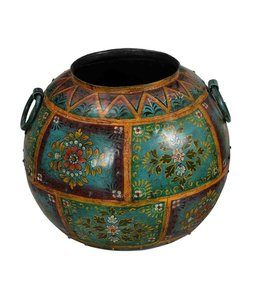 India - Old Furniture Hand Painted Iron Pot