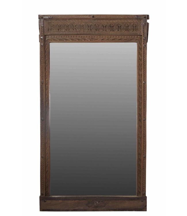 India - Old Furniture Mirror with Antique Carved Teak Frame