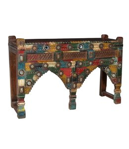 India - Old Furniture Original Tribal Pot Stand with Mirrors from Gujerat