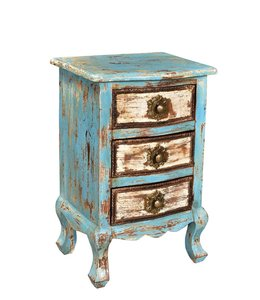 India - Old Furniture Painted Bedside Cabinet with Brasswork