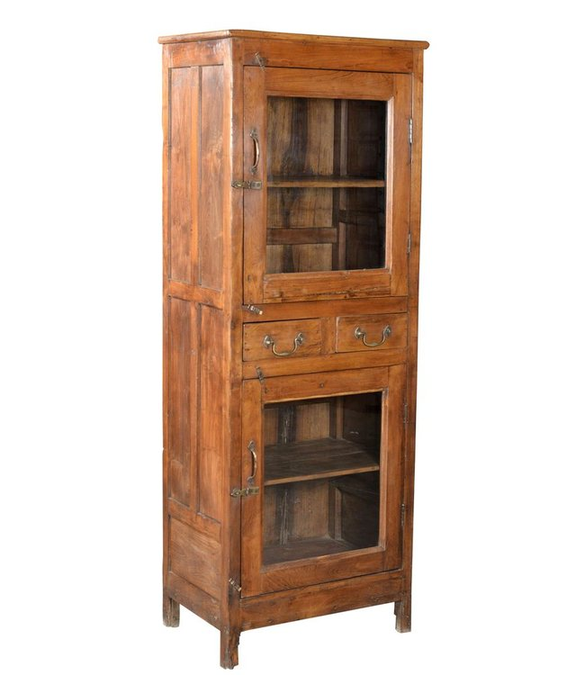 India - Old Furniture Reclaimed Teak Glazed cabinet
