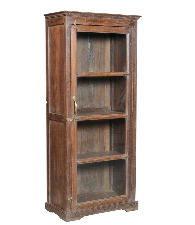 India - Old Furniture Teak Glazed Cabinet