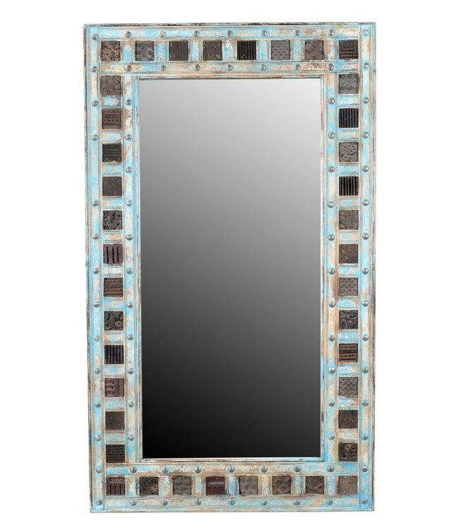 India - Old Furniture Mirror with print block detail