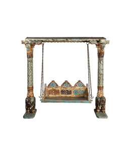 India - Old Furniture Rare Hand painted swing seat