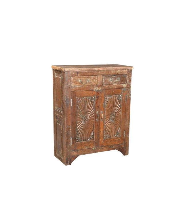 India - Old Furniture Cabinet with old carved doors and recycled teak wood