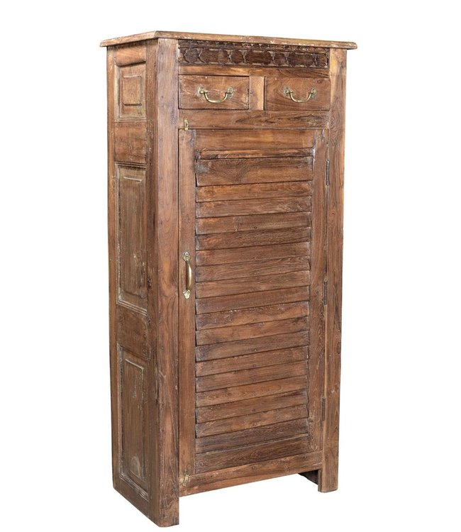 India - Old Furniture Cabinet upcycled from old teak louvre and carving
