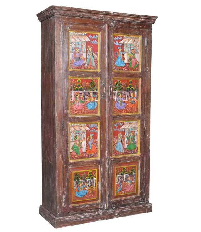 Old door almirah with rare Mughal style painting