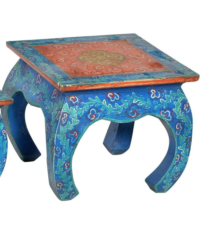 India - Old Furniture Hand painted opium table - Large