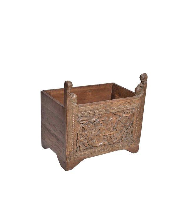 India - Old Furniture Planter or log basket with old carved panel
