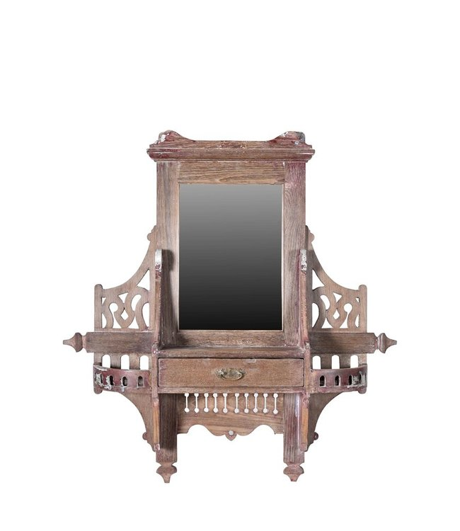 India - Old Furniture Original colonial wall vanity mirror
