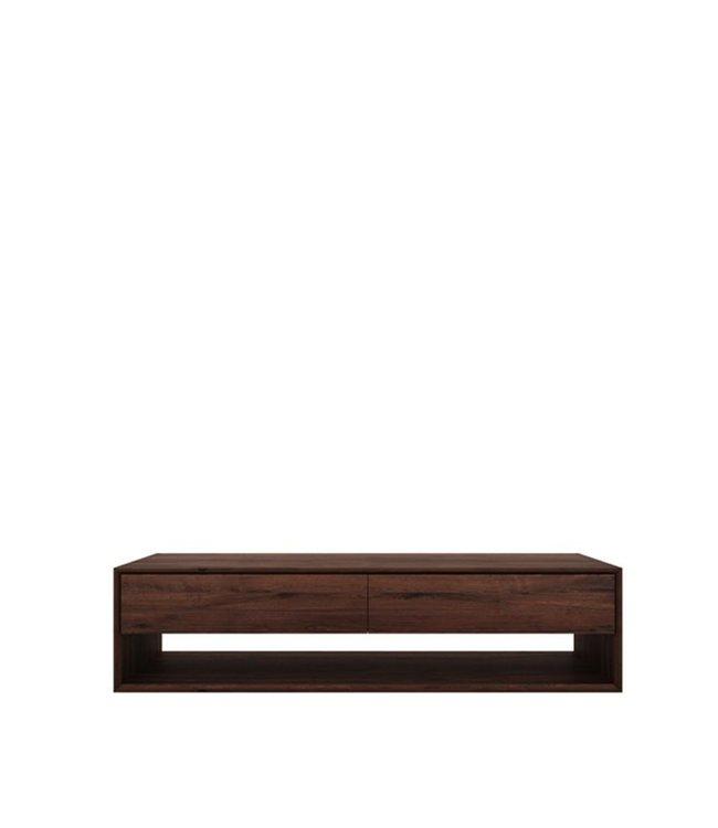 Walnut Nordic TV cupboard - 1 flip-down door - 1 drawer 180cm