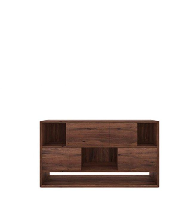 Walnut Nordic low rack - 4 sliding doors