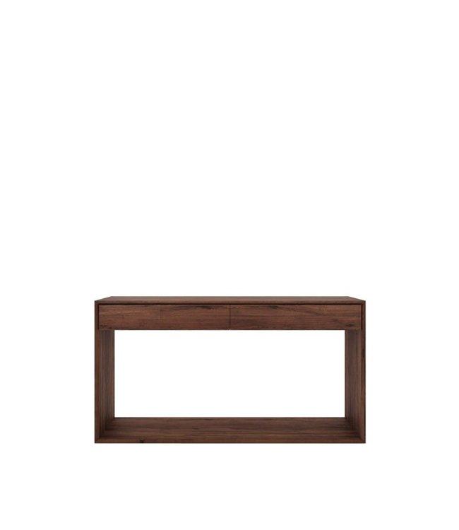 Walnut Nordic console - 2 drawers 160cm