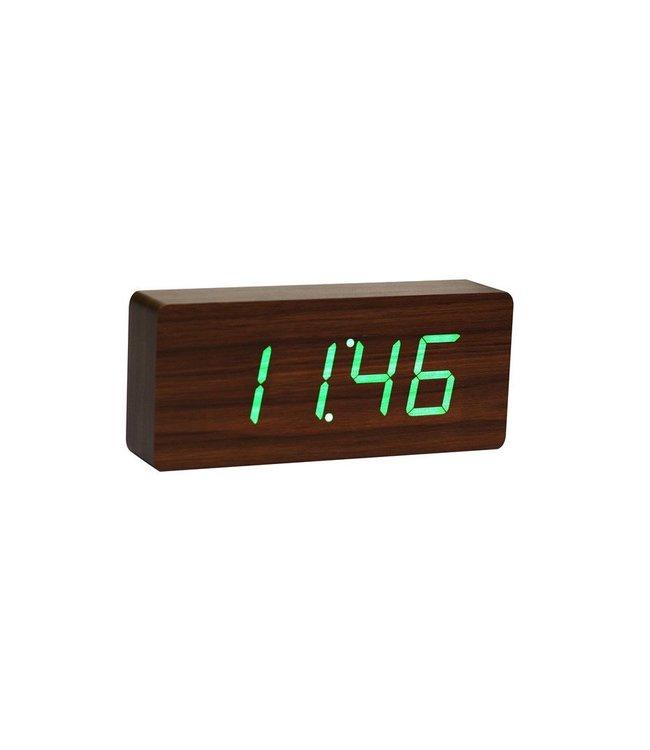 Slab Walnut Click Clock / Green LED