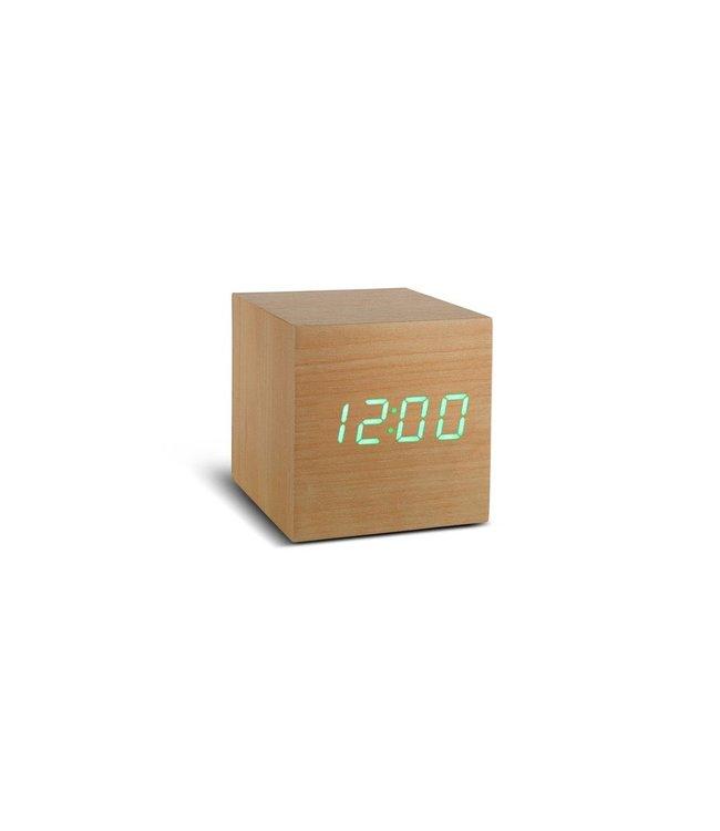 Cube Beech Click Clock / Green LED