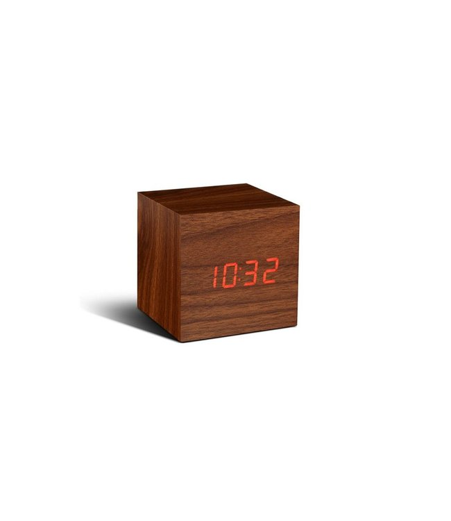 Cube Walnut Click Clock / Red LED